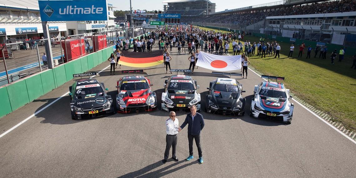Motorsports: DTM race Hockenheim-II, Saison 2017 - 9. Event Hockenheimring, GER, # 6 Robert Wickens (CAN, HWA AG, Mercedes-AMG C63 DTM), # 33 Rene Rast (GER, Audi Sport Team Rosberg, Audi RS5 DTM), # 31 Tom Blomqvist (GBR, BMW Team RMR, BMW M4 DTM), Gerhard Berger, Masaaki Bandoh